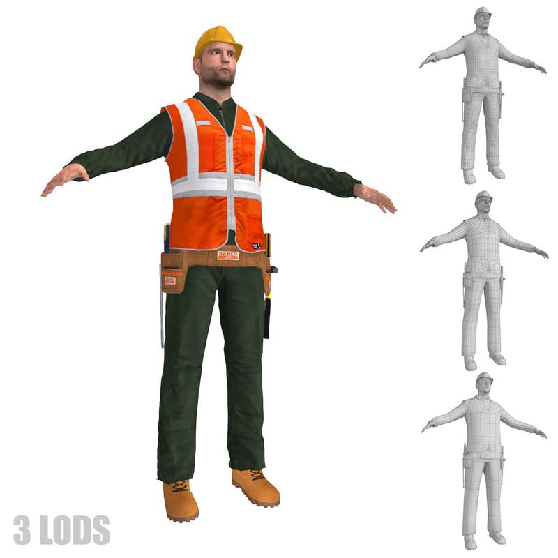 3d worker lods man
