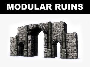 3d model modular ruins kit