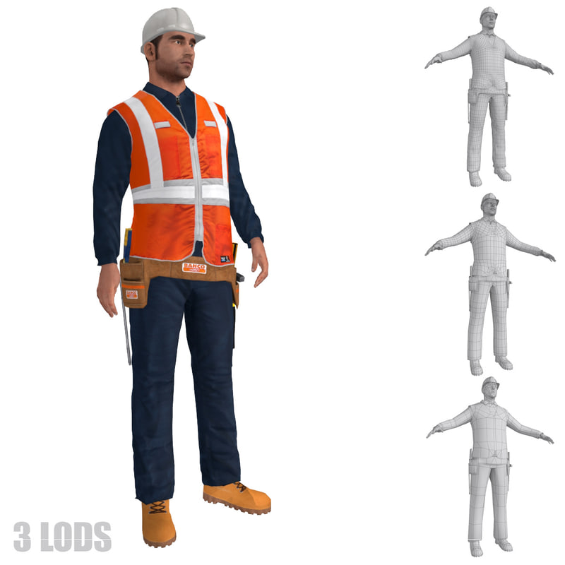 rigged worker lods s 3d model