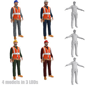 rigged worker lods s 3d max