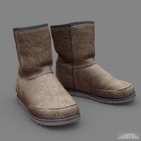 3d sheepskin boots model