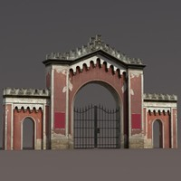 Gate Wall Low Poly 3d Model