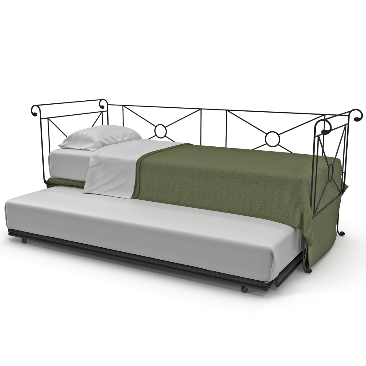 metal daybed trundle 3d 3ds