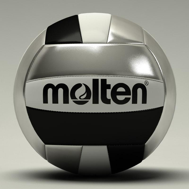 3d molten volleyball black silver model