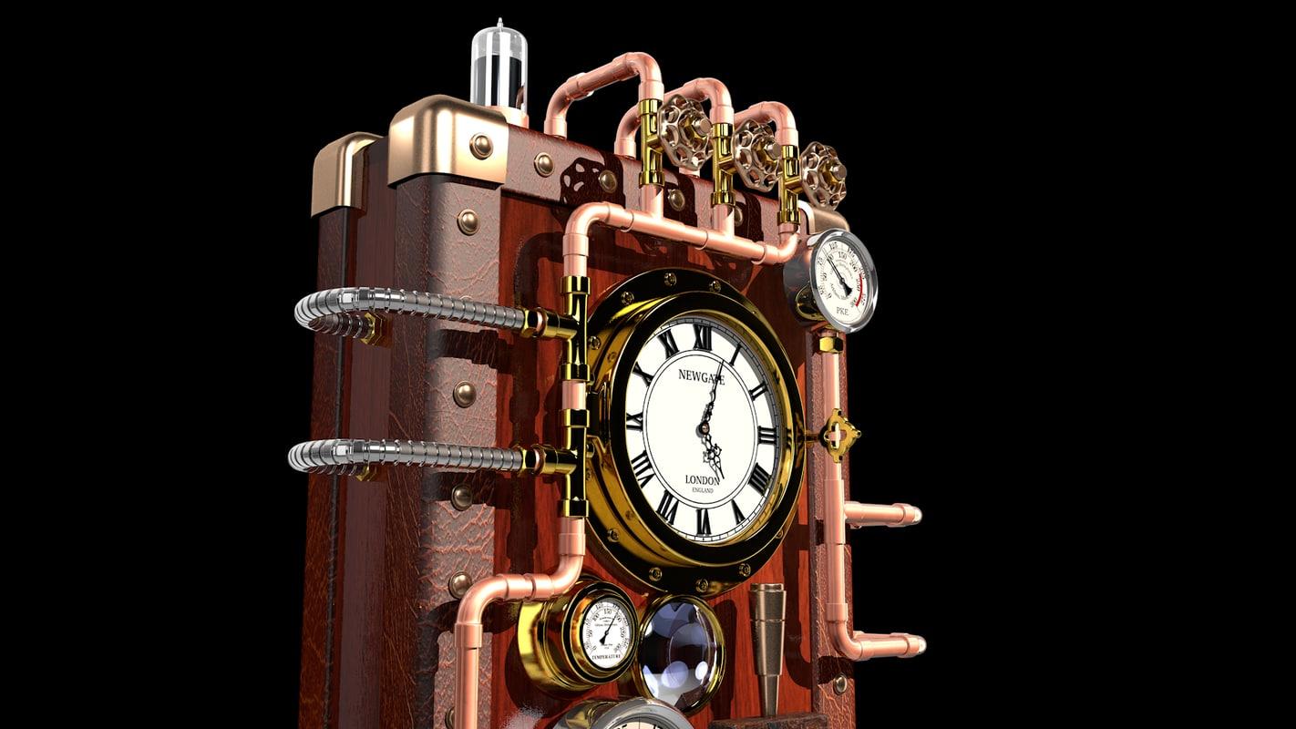 steampunk clock 3d model