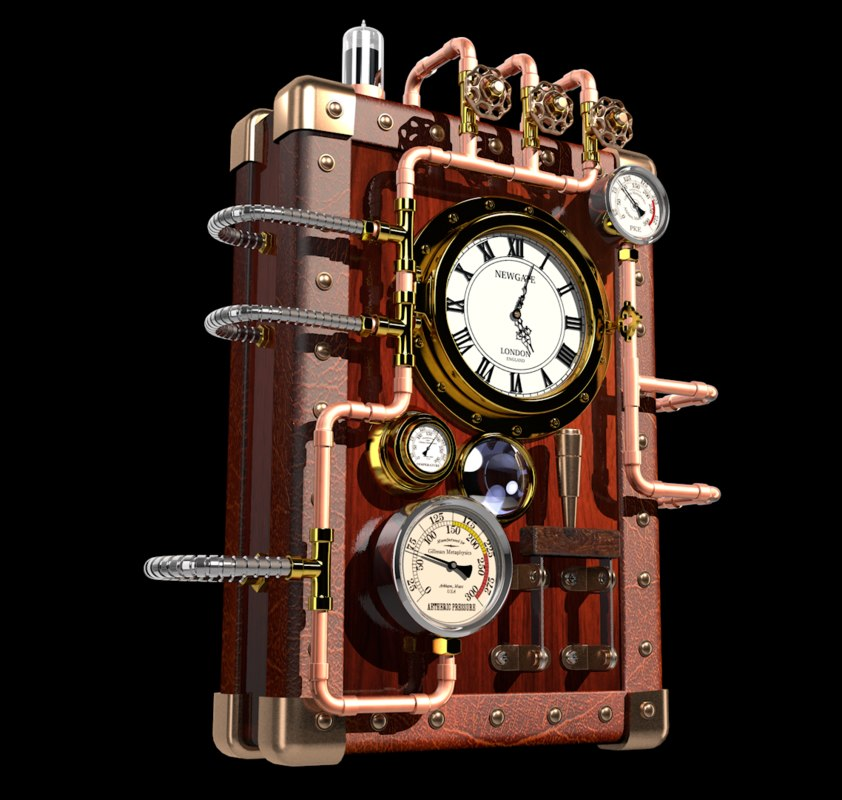 steampunk clock 3d model