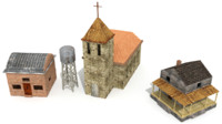3d houses church