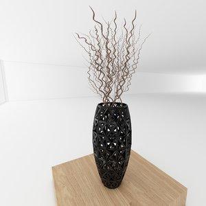 3d vase twig decoration