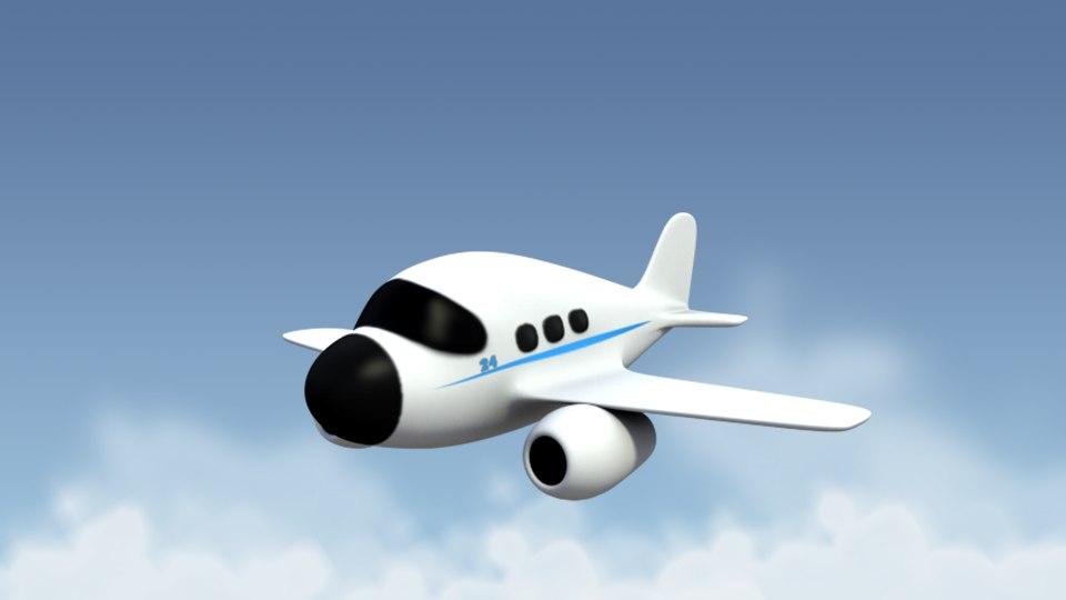 cartoonish airplane 3d model