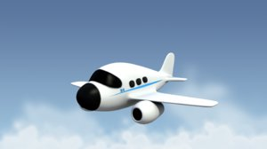 cartoonish airplane 3d model
