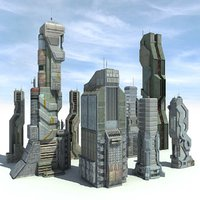 Sci fi City 8 Buildings Futuristic