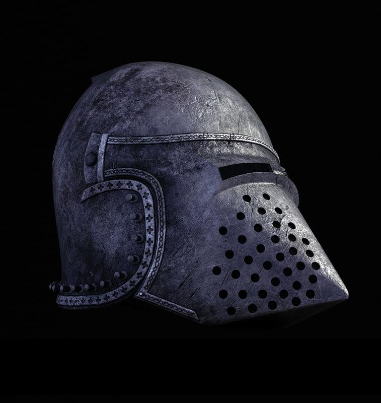 medieval hundsgugel helm 3d model