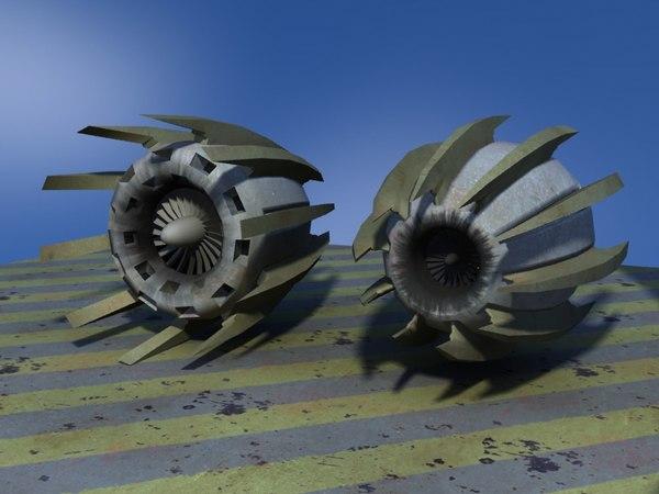 3d pair jet engines pod racer model