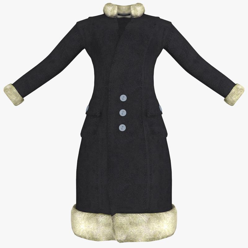 3ds max womens black coat