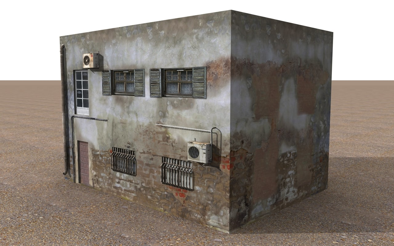 3d simple old house model