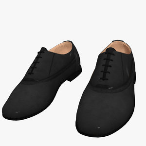 mens dress shoes black 3d model