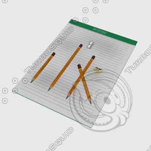 notepad pencil eraser max