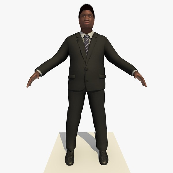 african male business man 3d 3ds
