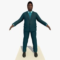 Rigged Black Business Man In a Blue suit