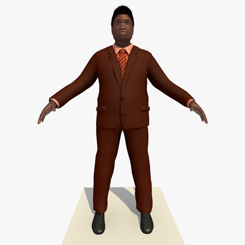 3d african male business man model