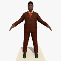 Rigged Black Business Man In a Brown Suit