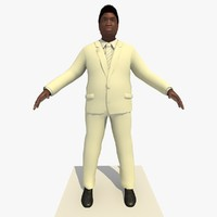 Rigged Black Business Man In a White Suit