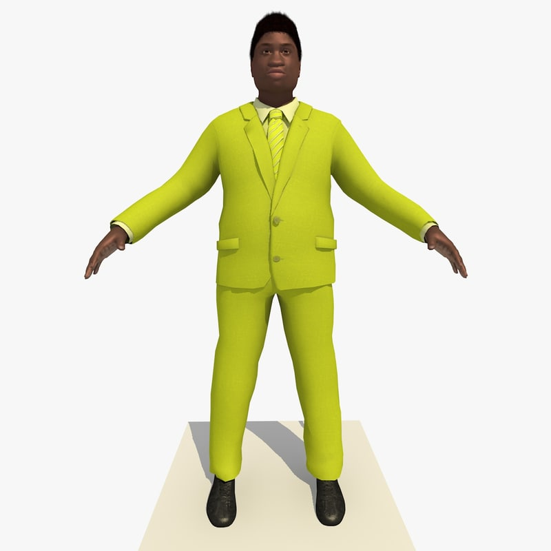 3d model of african male business man