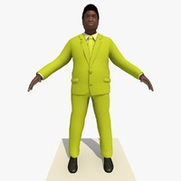 Rigged Black Business Man In a Yellow Suit