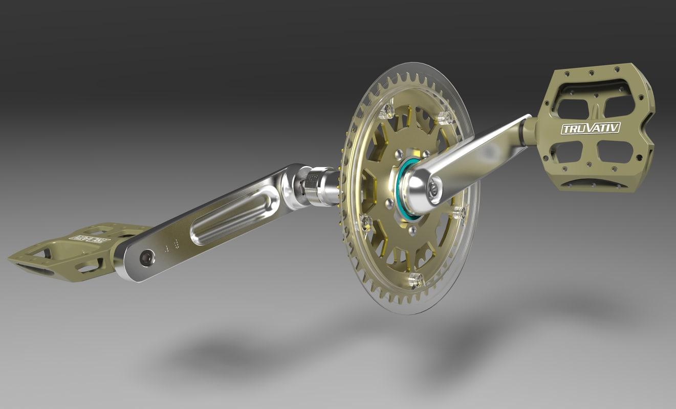 freewheel mountain bike cranks 3d model