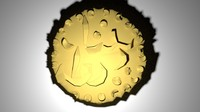 gold coin malay 3d model