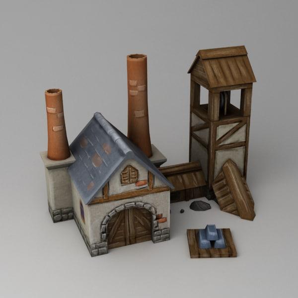 3d cartoon ore foundry model