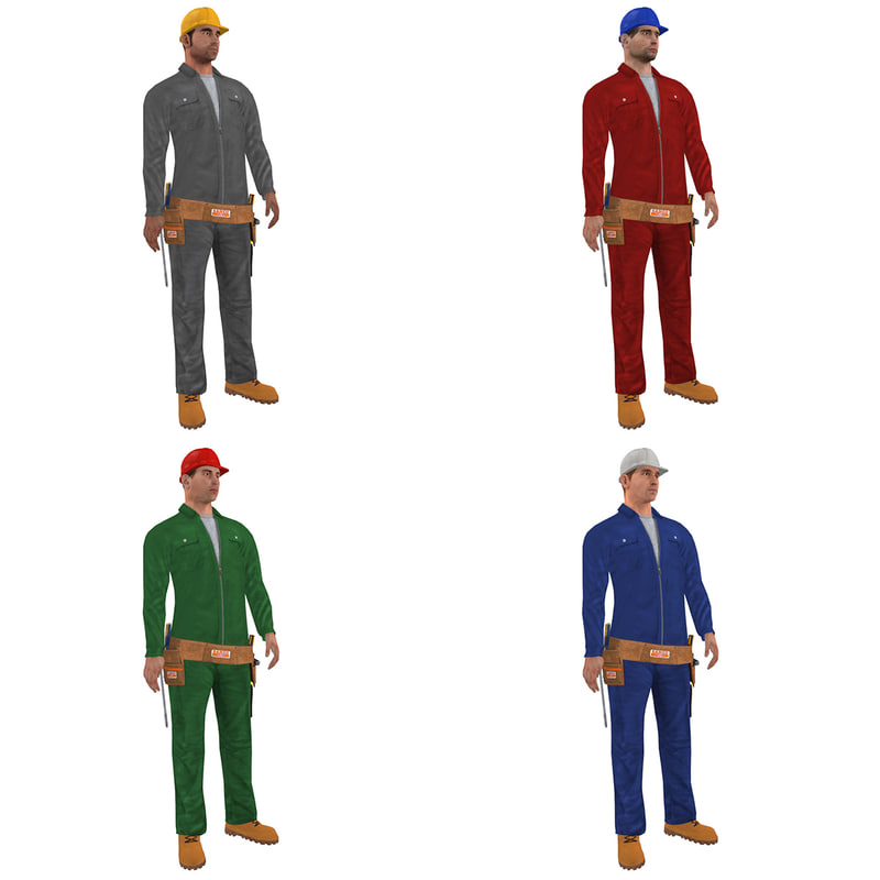 3d pack rigged worker man model