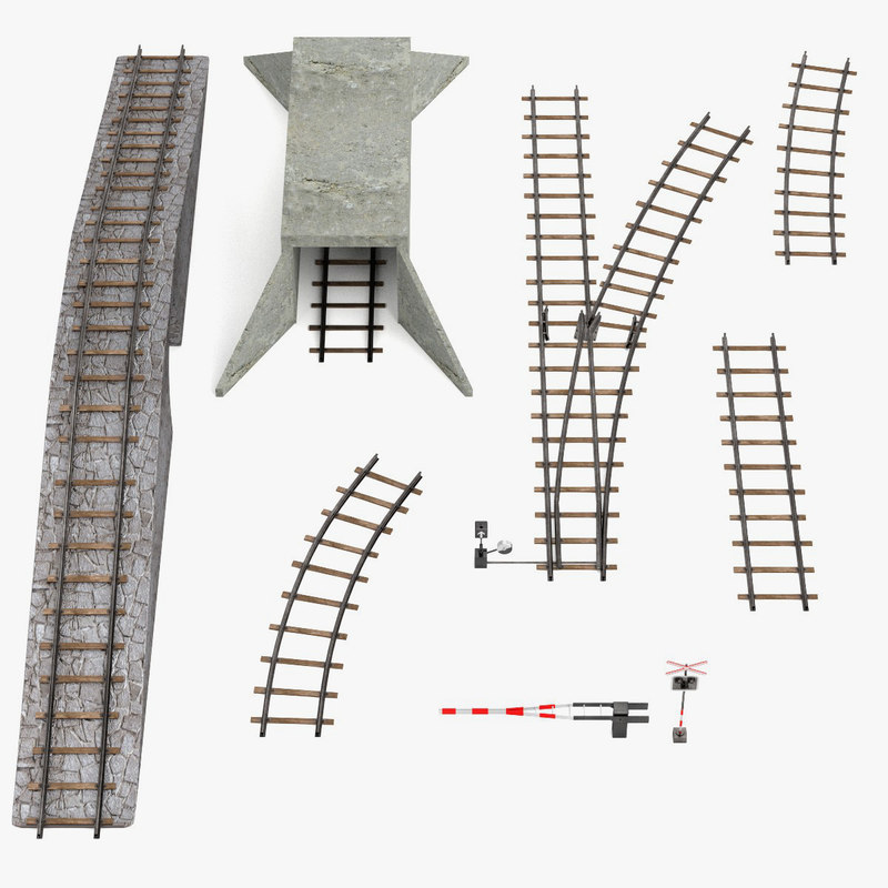 3d blend railroad set track