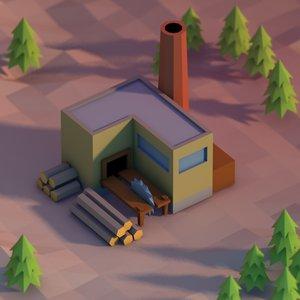 3d model sawmill building