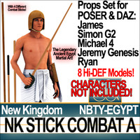 Props Set Poser Daz for Ancient Egypt Stick Combat NK A