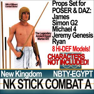 nk stick combat props 3d 3ds