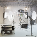 studio lighting, softbox, microphone, speakers, a farm, a suitcase, soffits, sennheiser, studio