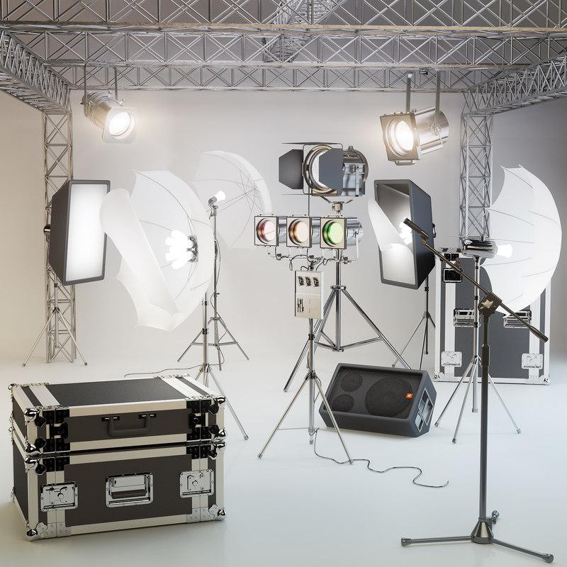 lighting studios suitcases microphone max