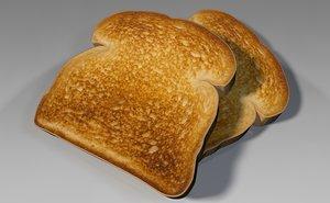 toast bread breakfast 3d model