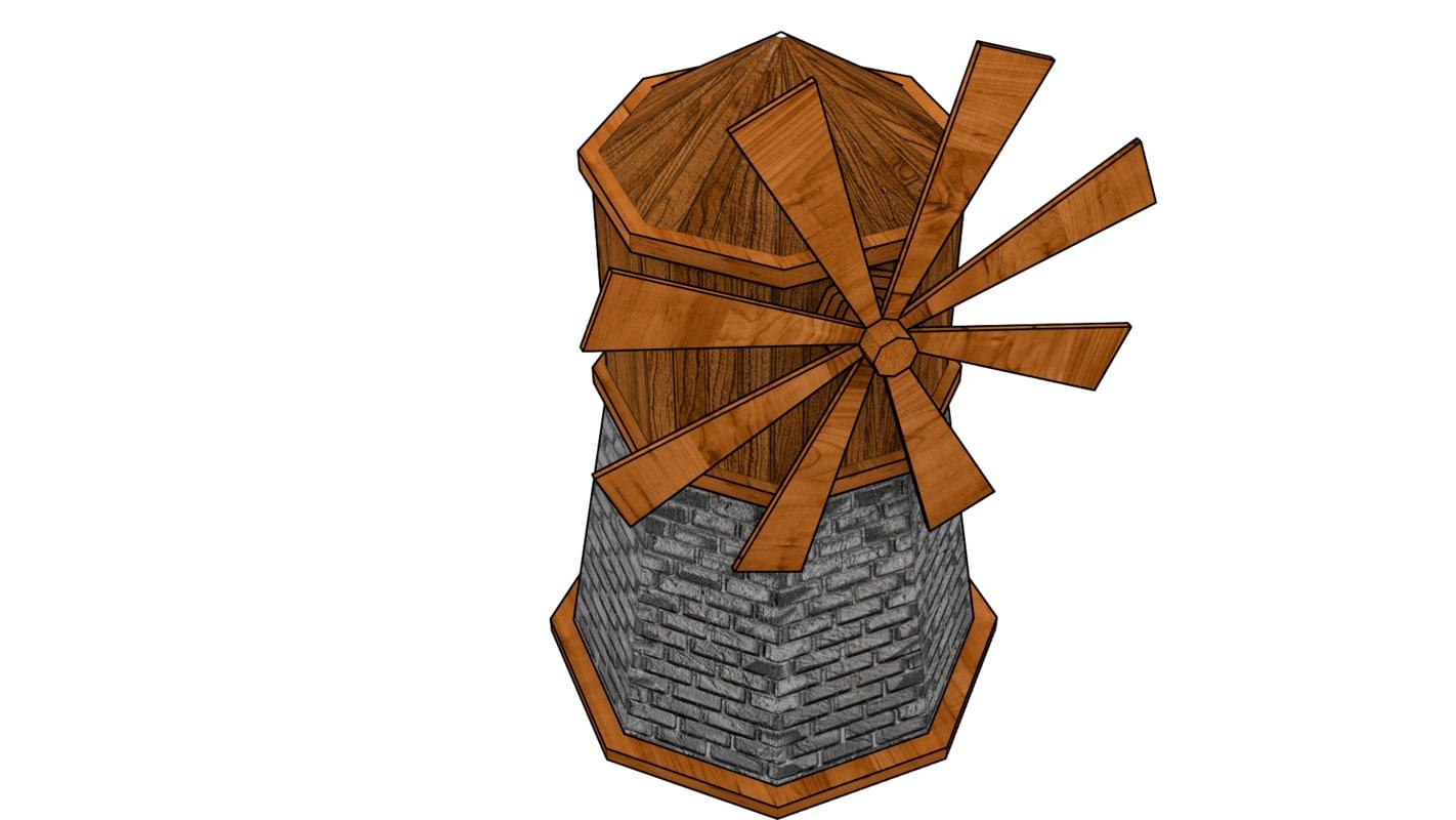 3d model old wooden windmill