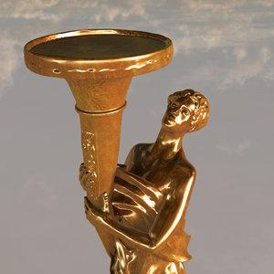 3d gold statue model