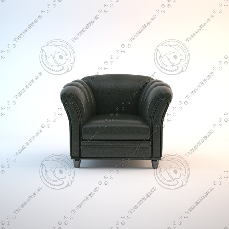 3d green leather chair
