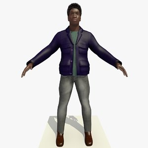 3d model african male man blue