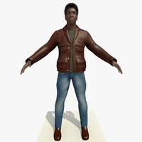 Rigged Black Man Casual Brown Jacket
