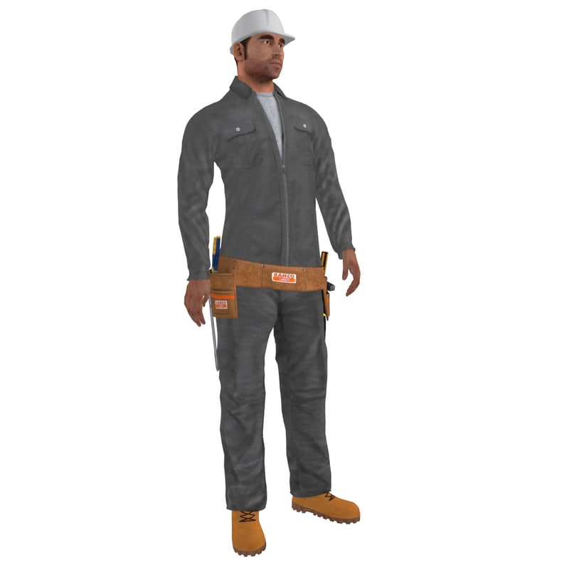 3d model rigged worker biped man