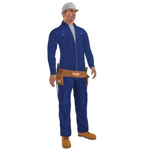 rigged worker biped man max