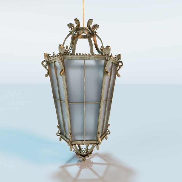 antique hanging lantern c4d