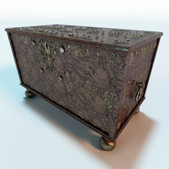 antique wooden chest 3d model