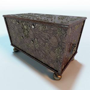 antique wooden chest 3d model