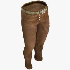 3d model mens trousers